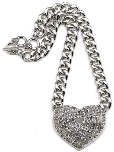 Heart Necklace Silver Color Light Weight 17-19 Inch Adjustable Plastic Link Chain Iced Out - Nikki Style Minaj