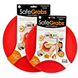 Safe Grabs Seen on Shark Tank: Multi-Purpose Silicone Microwave Mat, BPA Free Kitchen Tool, Set of 2, Red