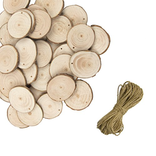 50pcs Natural Wood Slices with Hole - YuQi Gift Round Log Discs with 33 Feet Jute Twine Wedding Decoration DIY Craft Rustic Wedding (Sliced Log)