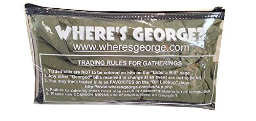 THE OFFICIAL WHERE'S GEORGE? POUCH - Dollar Bills Not Included! // This Single Pocket WG Pouch Has A Clear Exterior A Zipper Closure // It Is A Great Accessory // Designed To Neatly Organize Your WG Stamps, Bills, And Related Items, The Pouch Can Be Used To Organize Any Small Items