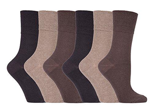 Gentle Grip - 6 Pack of Ladies Diabetic Socks -5-9 us (Brown)