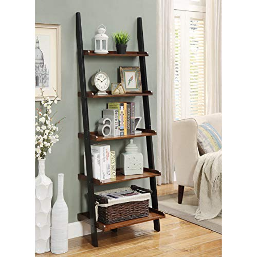 MISC 6ft Brown Black Leaning Bookcase Ladder Shelf Wood 5 Tier Bookshelf Tilted Against Wall Slanted Display Stand Bedroom Office Living Room Vertical Shelving for Farmhouse Mid-Century Home, Veneer ()