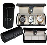 StarSide Travel Watch Storage Organizer for 3 Watches Leatherette Roll Great Gift