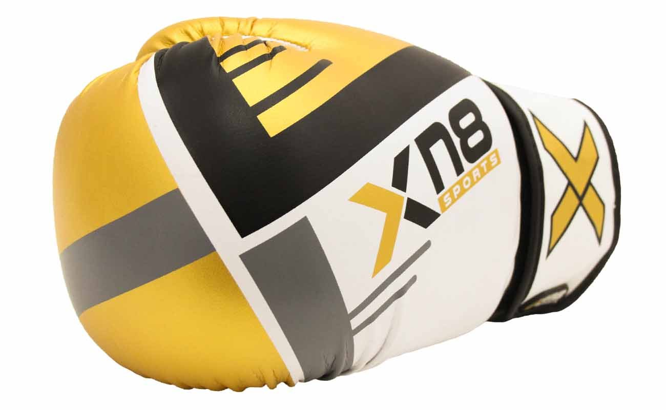 Xn8 Sports Unisex-Youth Glove-G400 Rex Leather Boxing MMA Muay Thai Punch Bag Sparring Fight Pad Kickboxing Martial Arts Training Gloves