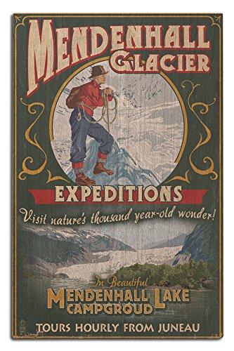 - Lantern Press Juneau, Alaska - Mendenhall Glacier Tours Vintage Sign (12x18 Wood Wall Sign, Wall Decor Ready to Hang)