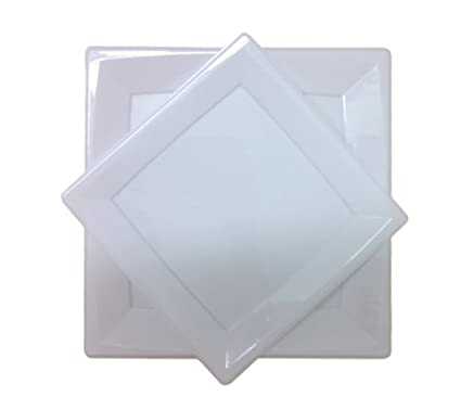 White Square Plates Disposable Plastic Dinner and Dessert Plastic Plates - 32 Pc. Dinnerware Set  sc 1 st  Amazon.com : disposable square plastic plates - pezcame.com