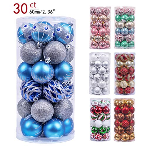 Valery Madelyn 30ct 60mm Winter Wishes Blue Silver Shatterproof Christmas Ball Ornaments Decoration,Themed with Tree Skirt(Not Included)
