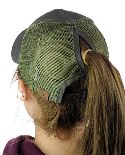Hat Baseball Olive (C.C Ponycap Messy High Bun Ponytail Adjustable Mesh Trucker Baseball Cap Hat, Olive)
