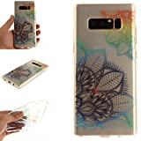 Galaxy Note8 Case, Note8 Cover, MerKuyom Durable [Clear Transparent] [Slim-Fit] Flexible Gel Crystal Soft TPU Case Skin Cover For Samsung Galaxy Note 8 Note8 , W/ Stylus (Colorful Flower Petals)