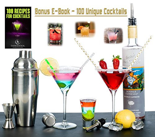 Cocktail-Shaker-Set-Professional-Bartenders-Kit-in-a-Accessories-Bag-Martini-Drink-Mixer-Jigger-2-Liquor-Pourers-and-ebook-100-Bartender-Recipes-Barware-Tools-Bar-Supplies-by-SHIKSHOOK