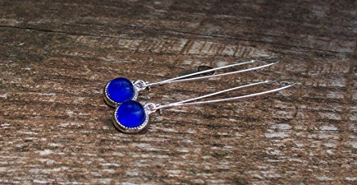 - Recycled Vintage Cobalt 1960's Face Cream Jar Long Drop Charm Earrings