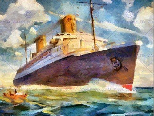SS BREMEN OCEAN LINER LINER SHIP BOAT WATERCOLOUR POSTER ART PRINT 12x16 inch 30x40cm (Bremen Ocean Liner)