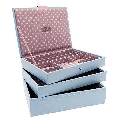 Stackers Schmucktablett für Schmuckschatulle, 3-er Set, mittelgroße Fächer, Blau/Pink Book 2