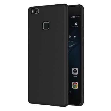 buy online bb7d7 0a692 Huawei P9 Lite Case, AICEK Black Silicone Cover for Huawei P9 Lite Black  Case