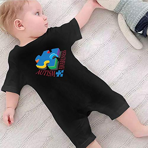 WERNG Autism Awareness Puzzle Piece Baby Boys Girls Romper Bodysuit Infant Funny Jumpsuit Outfit 0-2T 12M Black