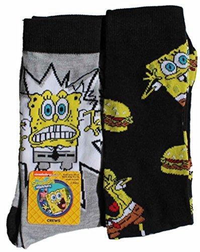 Nickelodeon Spongebob 2 Pack Crew Socks, Men's, Assorted, 10-13