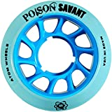 Atom Poison Savant Skate Wheels for Perfect Speed and Control, 84A 59mm x 38mm, Blue, Set of 8