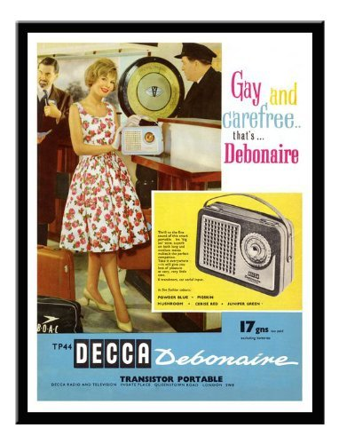 - Iposters Decca Radio 1960s Advert Print Magnetic Memo Board Black Framed - 41 X 31 Cms (approx 16 X 12 Inches)
