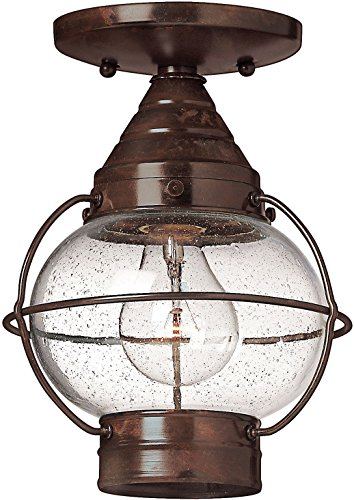 Hinkley 2203SZ Rustic One Light Flush Mount from Cape Cod collection in Bronze/Darkfinish,