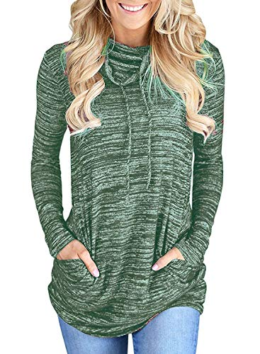 MISSLOOK Women's Cowl Neck Tops Long Sleeve Tunic Drawstring Blouse Pullover Sweatshirt with Kangaroo Pockets - Green XL - Drawstring Tunic Top