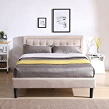 DeCoro Mornington Upholstered Platform Bed | Headboard and Metal Frame with Wood Slat Support | Linen, Queen