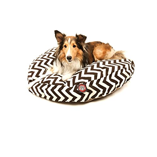 Small Brown Chevron Stripes Pattern Dog Bed, Elegant Zig Zag Stripe-Inspired Print Pet Bedding, Round Shape, Features Water, Stain Resists, Removable Cover, Soft & Comfy Design, Plush Polyester by CU