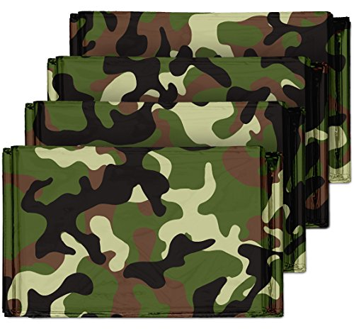 - Camouflage Emergency Mylar Blankets (4-Pack) - Perfect for Outdoor Camping, Hiking, Survivalist, Shelters, Preppers, Hunting, First Aid Kit