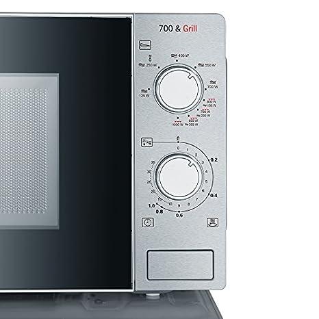 Severin MW 7896 - Microondas de 700 W, con función grill 2 en 1 de 1000 W, 9 niveles de potencia, 20 l, temporizador, acero inoxidable, color negro: ...
