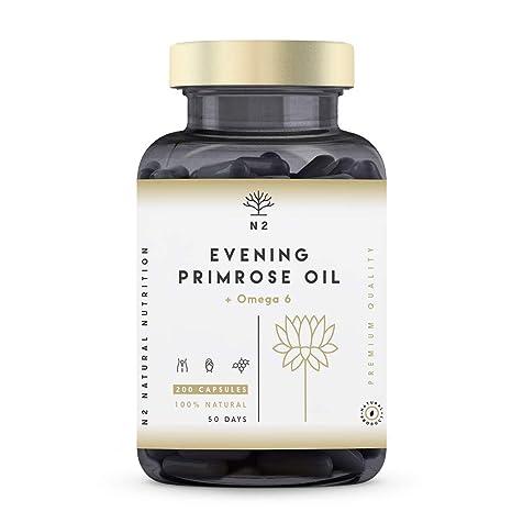 Aceite de Onagra 2000mg por dosis 10% GLA y Vitamina E. Alivia Síntomas de Menopausia y Síndrome Premenstrual Equilibrio Hormonal. 200 Perlas de 500 ...