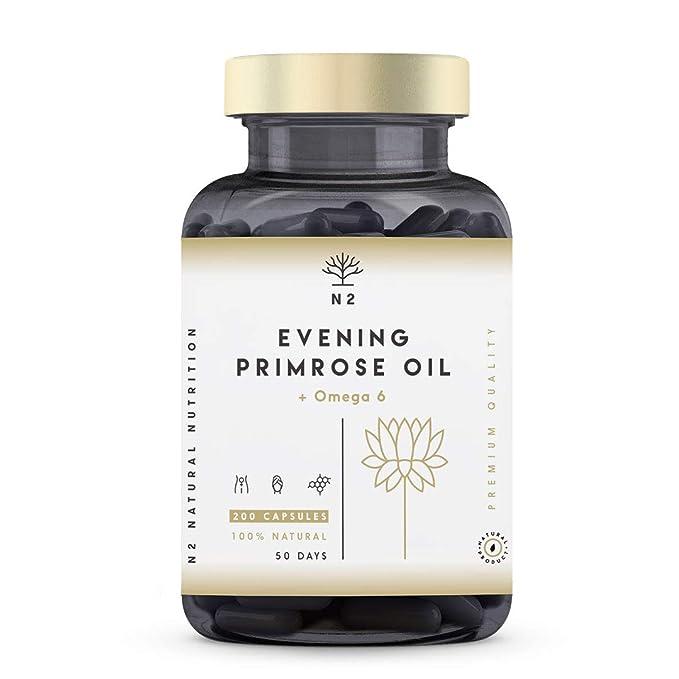 Aceite de Onagra 2000mg por dosis 10% GLA y Vitamina E. Alivia Síntomas de Menopausia y Síndrome Premenstrual Equilibrio Hormonal. Mejora Piel. 200 ...