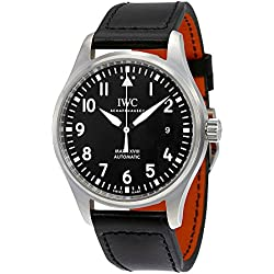 IWC Men's Quartz Stainless Steel Watch, Color:Black (Model: IW327001)