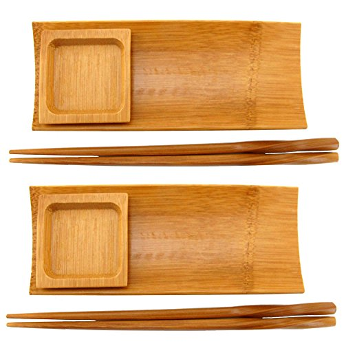 BambooMN Reusable Carbonized Brown Bamboo Sushi Serving Tray Set - 2 Sets