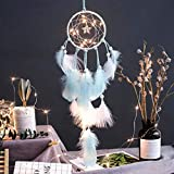 dryujdytru High Grade Girl's Gift 2 Meter 20 LED Handmade Dream Catcher With Feathers Light Hanging Dreamcatcher (Blue)