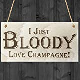 Red Ocean I Just Bloody Love Champagne Novelty Wooden Hanging Plaque Funny Alcohol Joke Sign by Red Ocean