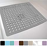 Gorilla Grip Original Patented Bath, Shower, and Tub Mat (21x21), Machine Washable, Antibacterial, BPA, Latex, Phthalate Free, Square Bathroom Mats with Drain Holes, Suction Cups (Gray Opaque)