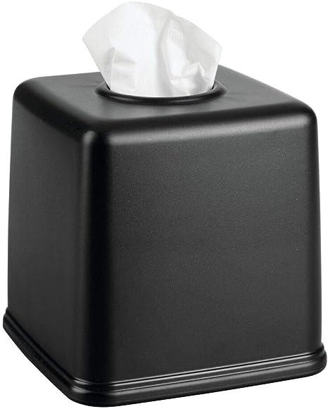 Rectangular Tissue Box Cover Holder Plastic Rose Tissue Dispenser for Bathroom Bedroom Night Stand Black