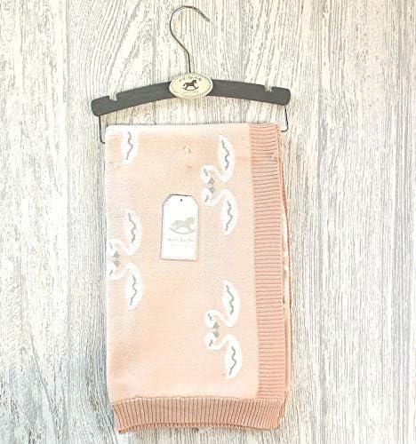 Bonita manta de punto rosa para bebé con diseño de cisne blanco y ...