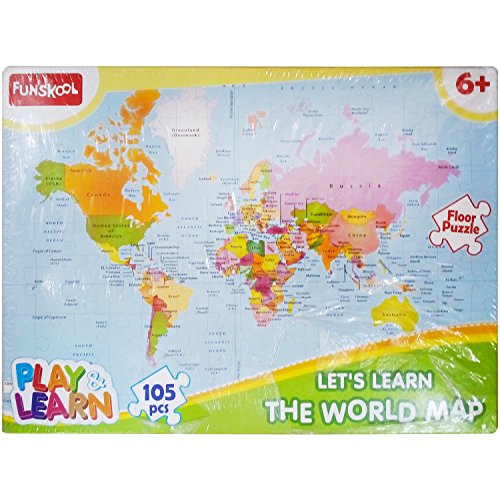 Buy Funskool World Map Puzzle Floor 105 Pieces Carton Online At