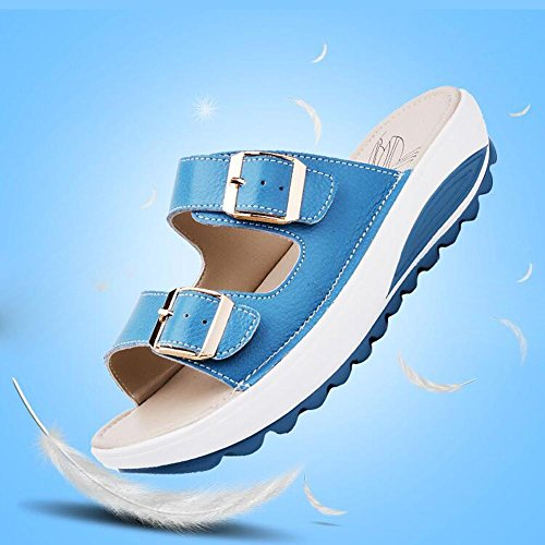 antidéRapantes Pantoufles AutomneL Women 2017 Fond et Des Pantoufles Summer Plat Sandales blue à Printemps avec YC Summer gzfRnwwq8