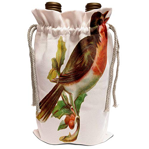 3dRose Dooni Designs Vintage Designs - Vintage Red-Breasted Robin Perched On Holly Branch Bird Illustration - Wine Bag (wbg_104662_1) (Red Breasted Robin)