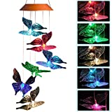 CXFF LED Solar Butterfly Wind Chimes Outdoor – Waterproof Solar Powered LED Changing Light Color 6 Butterflies Mobile Romantic Wind-bell For Home, Party, Festival Decor, Night Garden Decoration Review