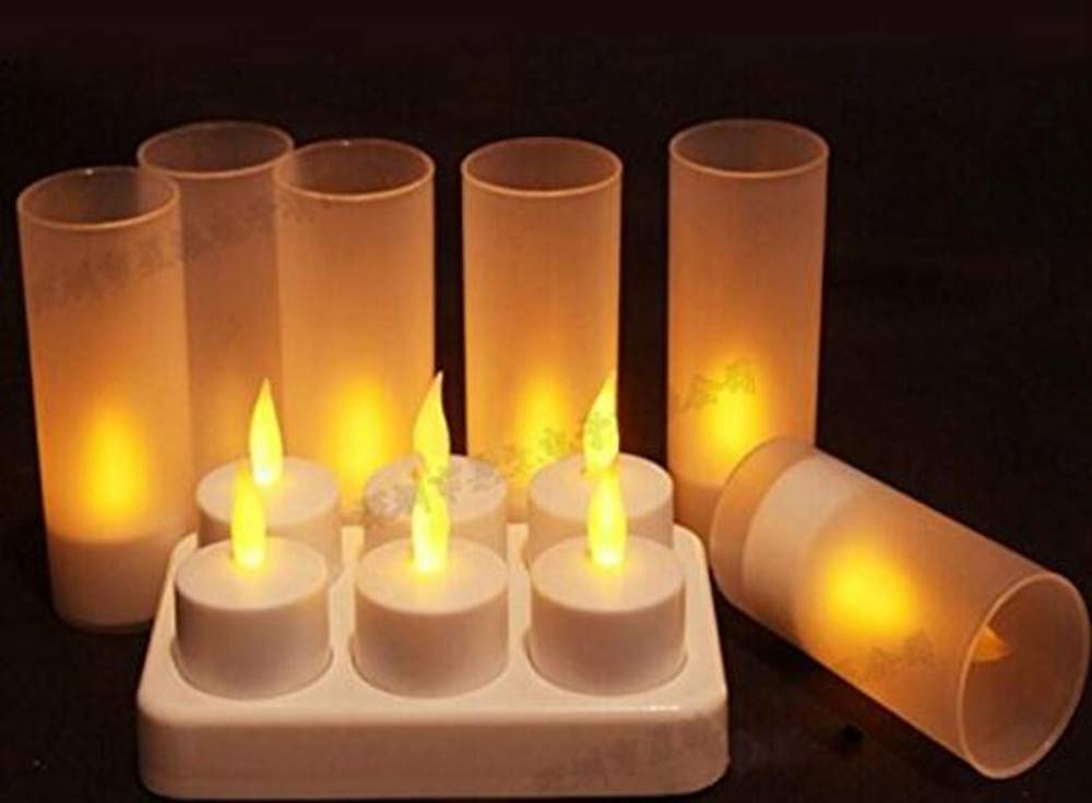 Best to Buy 6pack Rechargeable Flameless Votives Moving Flame Wick LED Tealight Candles with Charging Base and Remote Control-Amber color