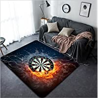Vanfan Design Home Decorative 87011837 Darts Board in Fire and Water Isolated on Black Background Modern Non-Slip Doormats Carpet for Living Dining Room Bedroom Hallway Office Easy Clean Footcloth