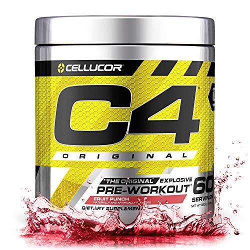 Cellucor C4 Original Pre Workout Powder Energy Drink Supplement For Men & Women with Creatine, Caffeine, Nitric Oxide Booster, Citrulline & Beta Alanine, Fruit Punch, 60 Servings