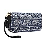 Women Wallet Zipper Around Bohemian Purse Canvas Wallet Elephant Pattern Long Clutch Phone Card Handbag with Strap Coin Pocket (Blue A, One Size)