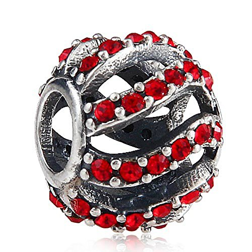 Wave Ruby Red CZ Crystals 925 Sterling Silver Bead fits European Brand European Charm Bracelets