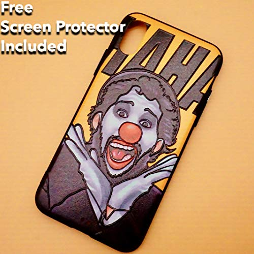 Designer Cool Phone Cases with Free Screen Protector Embossed Pattern Protective iPhone Phone Cases for Boys Yellow Phone Covers Compatible for iPhone X iPhone Xs (Clown)]()