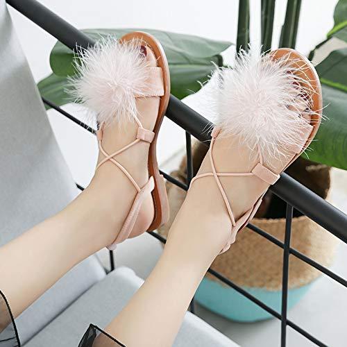 alla ZHRUI svasati Sandali Rosa caviglia cinturino con cinturino 38 EU Rosa donne le Dimensione Colore e alla caviglia per nR4Aw