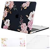 MOSISO MacBook Pro 13 Case 2018 2017 2016 Release A1989/A1706/A1708, Plastic Flower Pattern Hard Shell & Keyboard Cover & Screen Protector Compatible Newest Mac Pro 13 Inch, Peony on Black Base