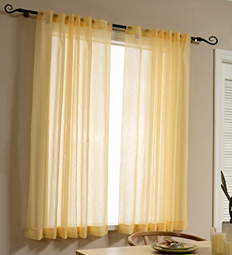 Mysky Home Back Tab and Rod Pocket Window Crushed Voile Sheer Curtains for Dining Room, Cream, 51 x 63 inch, Set of 2 Crinkle Sheer Curtain Panels (Curtains For Dining Room Windows)